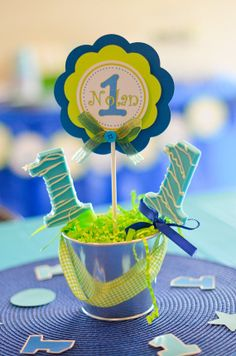 Centerpieces/ Cake Topper for any ocassion - Green and Blue - Baby's First birthday - 5 units on Etsy, $27.50