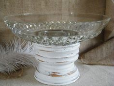 LARGE SERVING PLATTER OR BOWL, DO THIS WITH MY VINTAGE CANDLE HOLDER