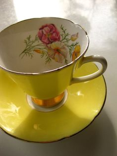 Vintage Bright Yellow Old Royal Bone China Teacup and Saucer
