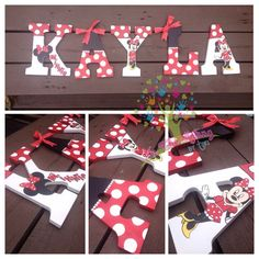 Minnie Mouse Inspired hand painted letters by InTheMakingbyTori