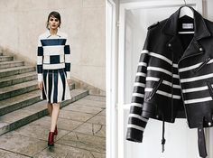 These leather stripes are both chic + edgy.