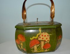 Vintage Wooden Box Purse Handpainted Decoupage Mushrooms by AmoreDolce, $30.00