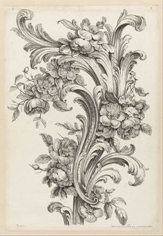 Floral and Acanthus leaf design (1740) by Alexis Peyrotte (1699 - 1769). Etching.