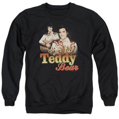 ELVIS/TEDDY BEAR - ADULT CREWNECK SWEATSHIRT - BLACK -