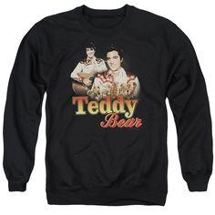 ELVIS/TEDDY BEAR - ADULT CREWNECK SWEATSHIRT - BLACK -