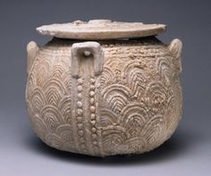 Cretan, Late Minoan IIIA Lidded jar (pyxis) with carved scale pattern, ca. 1390-1330 B.C.