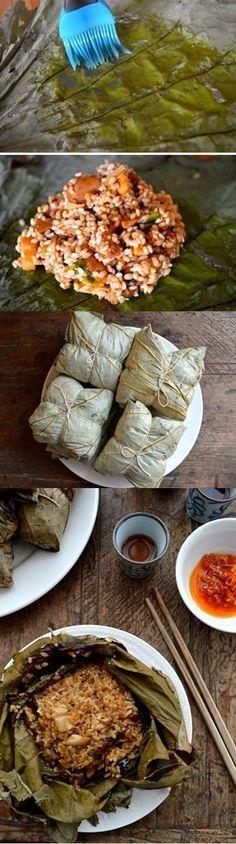 Dim Sum Sticky Rice Lotus Leaf Wraps-w-Chicken (lo mai gai / luo mi ji) by the Woks of Life