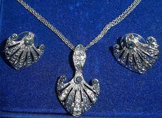 Jackie Kennedy Platinum Plated Necklace Set by SCLadyDiJewelry