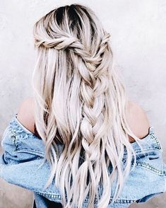 Half up half down braid hairstyle