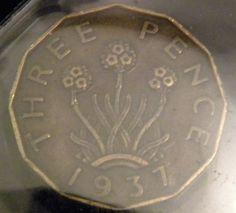 1937 British Three Pence Coin George V era head and by OlyTrader