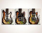 Guitar painting Modern Guitar Art Les Paul Strat Original Green Orange painting on canvas- triptych