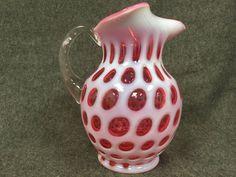"Vintage Fenton Cranberry Opalescent Coin Dot Glass Pitcher 9.5"""