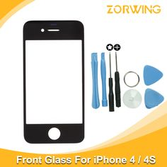 Best quality Front Glass For iPhone 4 4s Touch Screen Digitizer Panel LENS Replacement With tools in White And Black Color