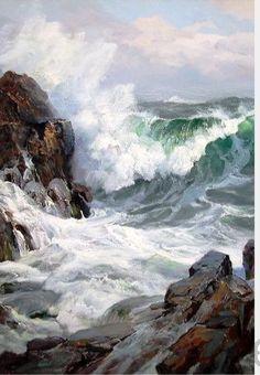 "Charles Vickery ""Coming To Blow"" (Détail) Watercolor Landscape, Landscape Art, Landscape Paintings, Ocean Art, Ocean Waves, Ocean Ocean, Pictures To Paint, Nature Pictures, Ocean Scenes"