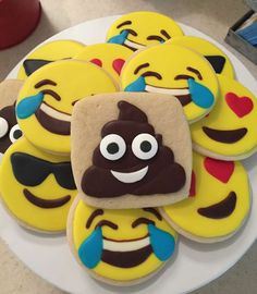 How fun are these cookies at an emoji birthday party! See more party ideas at CatchMyParty.com!