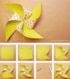 Como-hacer-molinillos-de-papel-que-gira-DIY–paper-Pinwheels How-to-make-paper-mills-that-turns-DIY – paper-Pinwheels Origami Paper, Diy Paper, Paper Art, Paper Crafts, Kids Origami, Preschool Crafts, Fun Crafts, Diy And Crafts, Diy For Kids