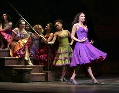 also, in America, purple does not clash with red West Side Story Cool, Anita West Side Story, Blue Costumes, Movie Costumes, Broadway Theatre, Musical Theatre, Arthur Laurents, Top 100 Songs, Theatre Reviews