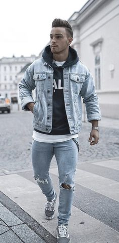 ba443ff5a656 ... banded collar button up Fall outfit idea with a light wash denim jacket  black hoody white t-shirt light Fall outfit inspiration ...