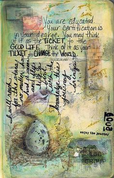 journal page by Pam Carriker - like the idea of writing in different directions on a page