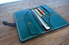 Handmade leather billfold wallet for women green by GalenUnique, $39.00