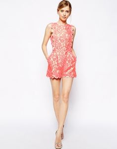 Image 4 ofASOS Playsuit in Fluro with Scallop Detail