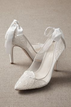 These mesh pumps feature intricate embroidery and a removable silk bow at the heel (perfect to keep as an heirloom piece! Best Bridal Shoes, Wedding Shoes, Bride Shoes, Lace Heels, Strappy Sandals, Tiffany Blue Heels, Jeweled Shoes, Lace Applique, Types Of Shoes