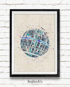Star Wars Poster Death Star Watercolor Art Print by NeighborArts