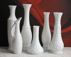 Six Various Design Vases for Flower Arrangements or Milk Glass Instant Collection. Milk Glass Vase, Tall Vases, Carnival Glass, Flower Arrangements, Alice, Antiques, Flowers, Vintage, Collection