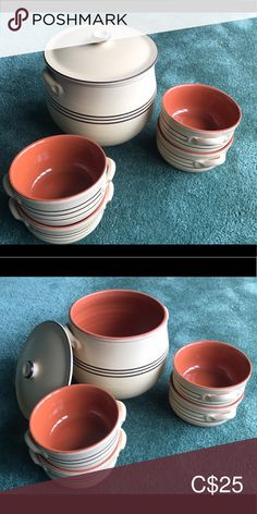 Vintage Italian Terra cotta pot and 4 bowls Vintage terra cotta set Terra cotta pot high Set of 4 bowls wide deep Made in Italy Made in Italy stamps are on the bottom. Got them as a souvenir but never used them Kitchen Bakeware Terracotta Pots, Vintage Italian, Terra Cotta, Bakeware, Bowls, Stamps, Italy, Deep, Kitchen