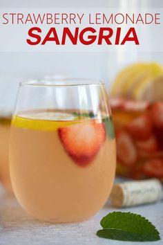 An easy and refreshing white wine summer sangria with fresh strawberries and lemons, lemonade, sauvignon blanc and lemon-lime soda. Brandy Sangria, Summer Sangria, Sangria Wine, White Sangria, Summer Cocktails, Strawberry Lemonade Sangria, Peach Lemonade, Strawberry Wine, Alcohol Drink Recipes