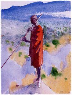 """Kikuyu in a Red Cloak"", Akseli Gallen-Kallela, 1910 Finland North Europe, Edvard Munch, Painter Artist, Cloak, Scandinavian, Sketches, 7 Martie, Illustration, Art"