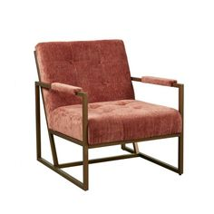 Spice Color Velvety Fabric Mid Century Lounge Chair