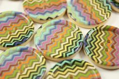 Wooden Buttons - Colorful Nordic Zig Zag Pattern Domed Border Wood Buttons, 4 holes. 1.18 inch. 6 pcs on Etsy, $3.50