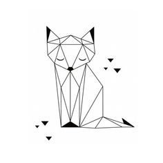 Origami cat geometric tattoo design ideas inspiration