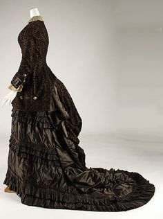 Wedding dress, Date: 1879, Culture: French Medium: silk, Dimensions: (a) Length at CB: 28 1/2 in. (72.4 cm) (b) Length at CB: 60 in. (152.4 cm)