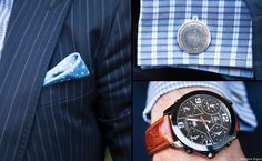 Close up on Derek's Ralph Lauren Purple Label pocket square, Jacob & Co. watch and Vintage Moet & Chandon cufflinks, Its all about the detail