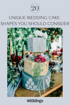 20 Unique Wedding Cake Shapes Contemporary Couples Should Consider Hexagon Wedding Cake, Metallic Wedding Cakes, Black Wedding Cakes, Amazing Wedding Cakes, Unique Wedding Cakes, Wedding Cake Designs, Unique Weddings, Wedding Cake Decorations, Wedding Desserts