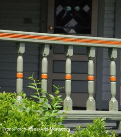 Amazing how much curb appeal you can accomplish with beautiful porch railings. More porch railing ideas on Front Porch Ideas and Porch Vinyl Railing, Aluminum Porch Railing, Porch Balusters, Porch Railing Designs, Wood Deck Railing, Front Porch Railings, Wood Balusters, Railing Ideas, Victorian Porch