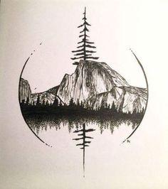 Half Dome in Yosemite Art by Robin Halmhofer - .- Half Dome in Yosemite-Kunst von Robin Halmhofer – Half Dome in Yosemite Art by Robin Halmhofer – - Trendy Tattoos, Cute Tattoos, Body Art Tattoos, Small Tattoos, Sleeve Tattoos, Tatoos, Natur Tattoos, Kunst Tattoos, Bild Tattoos