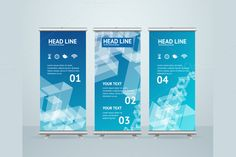 Roll Up Banner Stand Design. Vector by Stacy on Creative Market - Graphic Vital Letterhead Template, Brochure Template, Flyer Template, Creative Design, Web Design, Graphic Design, Standing Banner Design, Bunting Design, Event Banner