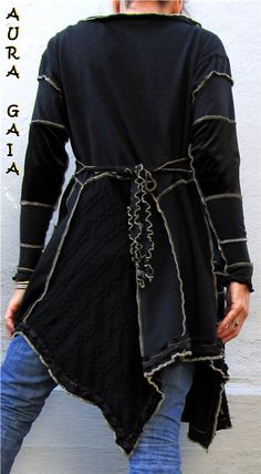 AuraGaia Moonsong Boho Upcycled Tunic Dress Wolf Moon Martiena Richter Art S-M/L