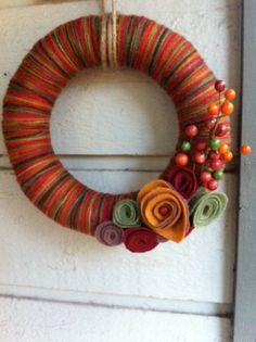 Multi colored Fall Yarn wreath by shelovesmae on Etsy
