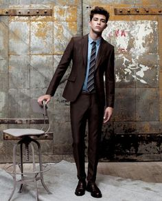 Francisco Lachowski ti for men style Brown suit with light blue shirt