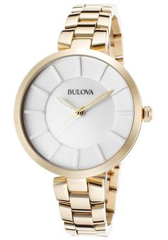 Bulova Watches Women's Gold-Tone Stainless Steel White Dial Gold-Tone SS 97L142,    #Bulova,    #97L142,    #Luxury