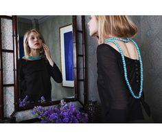 Silk Rope Necklace.... I love how the necklace swoops down low in the back - beautiful!