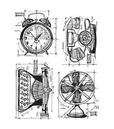 Tim Holtz Cling Rubber Stamp Set-Vintage Things Blueprint 13.99 on sale