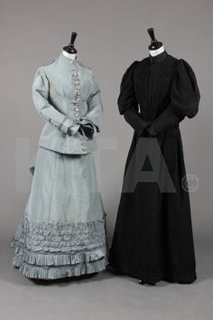 A pale grey-blue faille gown, late 1870s, together with black wool mourning gown, c.1895;