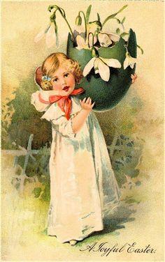 #Easter #antique #postcard #children #egg #lily