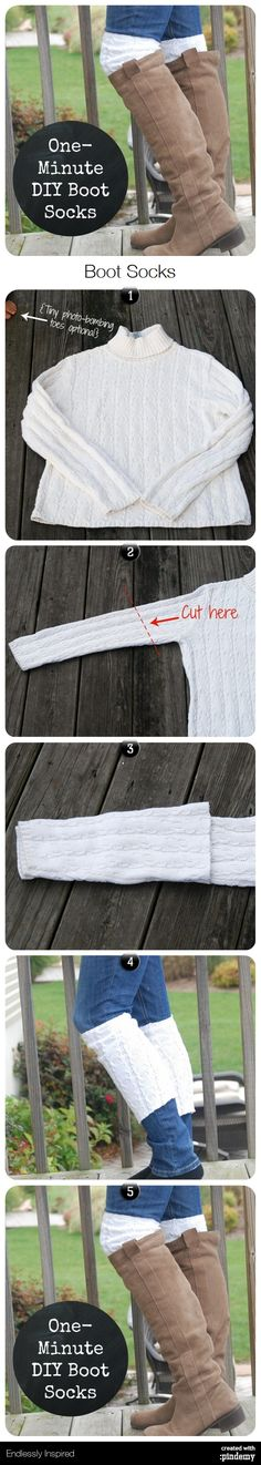 One-Minute DIY Boot Socks I would use fabric glue to add lace, super cute and quick!