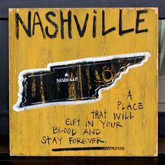 Southern College Towns Hand Pained Wood Sign. #Nashville, Tennessee. #GoVandy BourbonandBoots.com